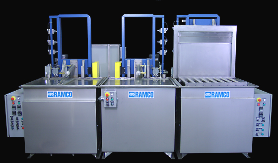 RAMCO Equipment Precision Wash, Rinse, and Hot Air Knife Drying Stages.