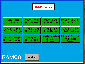 RAMCO-equipment-immersion-parts-washer-washing-console-series-fault-screen