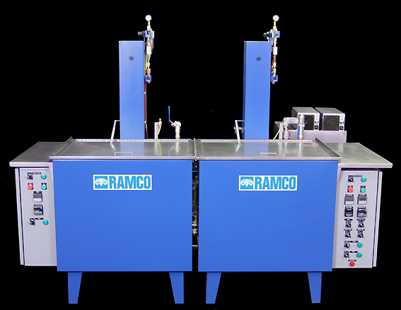 Two stage Wash/Rinse RAMCO System with ultrasonics in the wash station